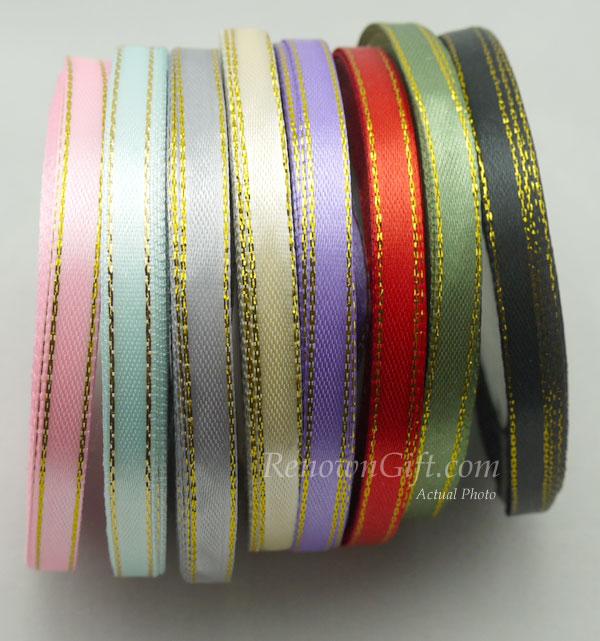 ribbon satin with gold edge