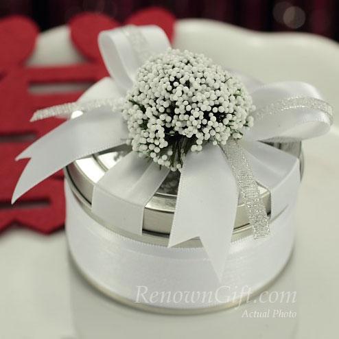 white lavender tin box