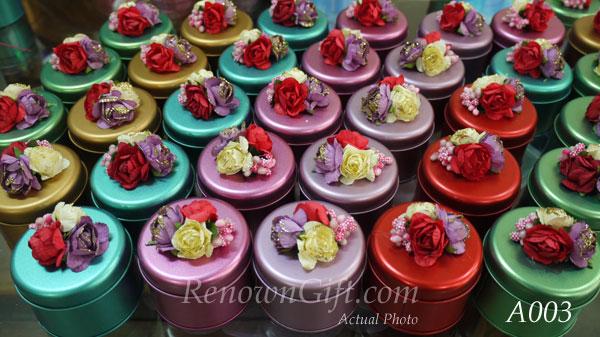 decorated round tin box