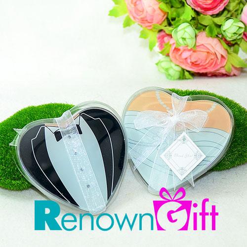 heart shaped bride groom coaster