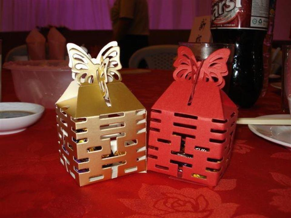 double happiness candy boxes gold red